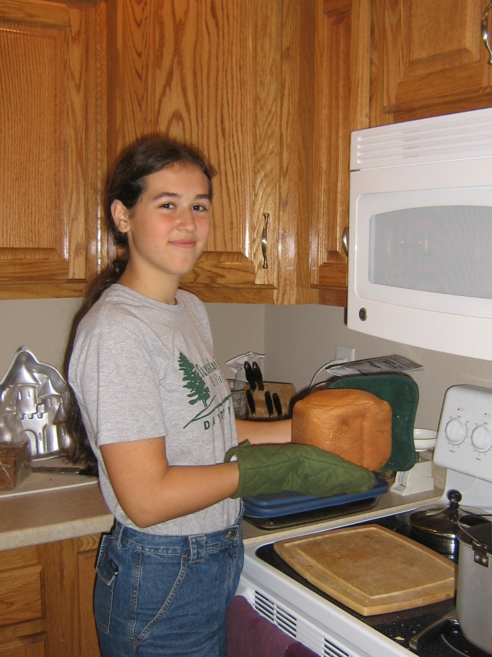 Crystal makes bread 8.09